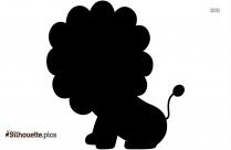 Sitting Baby Lion Cartoon Silhouette