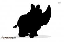 Baby Rhino Cartoon Animal Silhouette