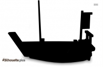 Black And White Fishing Boat Silhouette, Vector