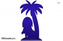 Cartoon Girl Holding Flower Silhouette Vector