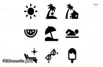 Beach Icons Silhouette