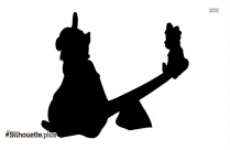 Cute Angry Bear Drawing Silhouette