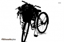 Bicycle With Basket Silhouette Image