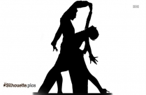 Black And White Ballroom Dancing Couple Clipart Silhouette