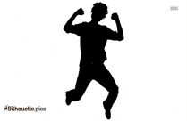 Black And White Boy Jumping Silhouette