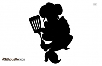 Black And White Cartoon Chef Silhouette Vector