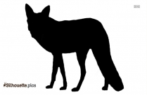 Black And White Cartoon Fox Standing Silhouette