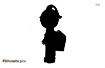 Black And White Cartoon Girl Silhouette