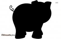 Black And White Cartoon Piggy Silhouette