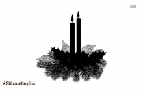 Black And White Christmas Candles Silhouette