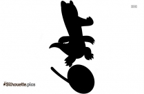 Black And White Circus Alligator Silhouette