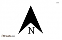 Black And White Compass Arrow Silhouette