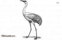 Black And White Crane Bird Silhouette