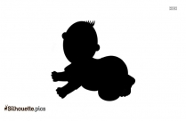 Black And White Crawling Baby Silhouette