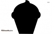 Black And White Cupcake Sprinkles Silhouette, Vector Art