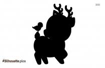 Black And White Cute Cartoon Deer Silhouette