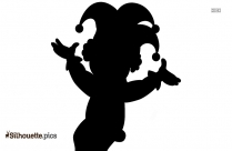 Black And White Cute Clowns Silhouette
