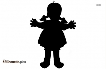 Little Girl Holding A Doll Silhouette
