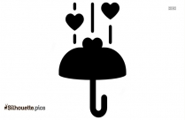 Black And White Heart Showering Umbrella Silhouette