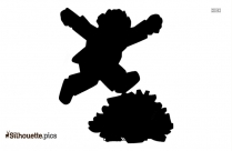 Black And White Jumping Cartoon Man Silhouette