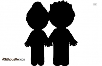 Black And White Mummy And Daddy Silhouette