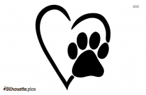 Black And White Paw Puppy Love Silhouette