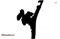 Martial Arts Silhouette, Kicking Clip Art