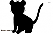 Black And White Tiger Cub Silhouette