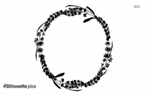Black And White Wildflower Wreath Silhouette