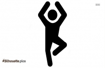 Black And White Yoga Icon Silhouette