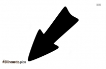 Black And White Down Arrow Symbol Silhouette
