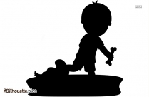 Kid Holding A Pumpkin Silhouette