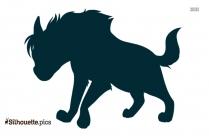 Black Cartoon Hyena Silhouette Image
