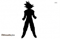 Black Cartoon Man Power Pose Silhouette Image