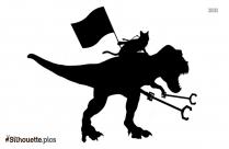 Black Cat Riding Dino Silhouette Image