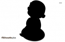 Black Cute Baby Girl Silhouette Vector