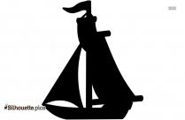 Black Fishing Boat Silhouette Image, Vector Art