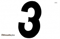 Black Number 3 Silhouette Image