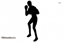 Boxer Silhouette In White Background