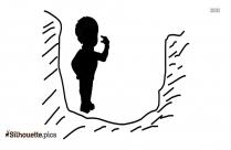 Little Boy Holding Star Silhouette Clipart