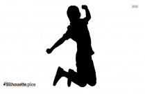 Cartoon Badminton Player Silhouette
