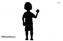 Black And White Cartoon Boy Silhouette