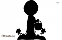 Boy With Flowers Silhouette Image And Vector