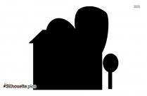 Cartoon Building Icon Silhouette