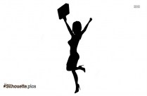 Business Woman Jumping In Joy Silhouette