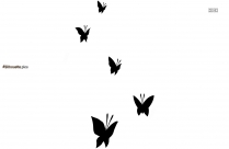 Black And White Cartoon Butterfly Silhouette