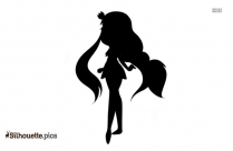 Cartoon Fairy Sitting On Moon Silhouette