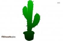 Cactus In Pot Silhouette Vector