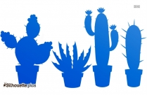 Cactus With Flowers Silhouette
