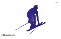 Canadian Ski Racing Silhouette Vector